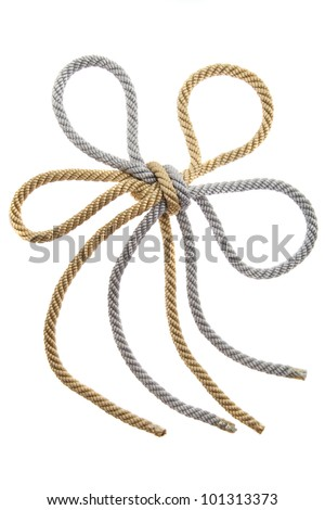 Double Knot on a gold and silver rope isolated, flower
