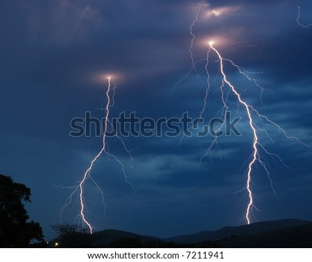 Double lightning strike - stock photo