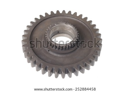 double metal sprocket isolated on white