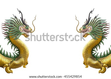 Double of golden chinese dragon statue on white background - stock photo
