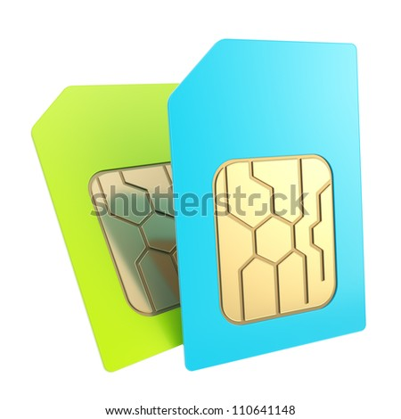 Double phone SIM cards with circuit microchips isolated - stock photo