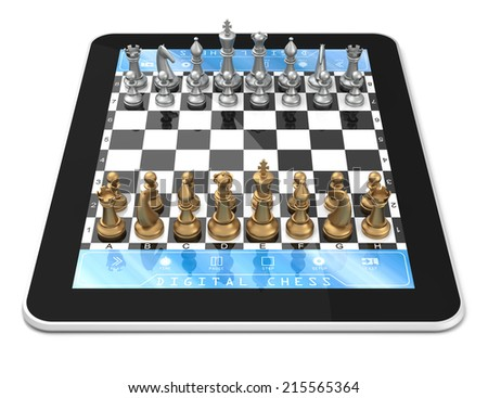 Double player chess game on digital tablet with Three Dimensional chess pieces. - stock photo