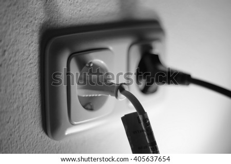 double plug socket on the wall - stock photo