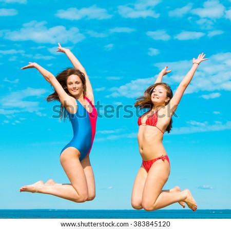 Double Portrait Beach Models  - stock photo