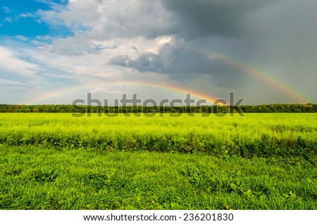 Double Rainbow over the meadow in the rain - stock photo
