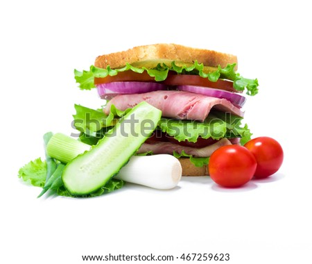 Double sandwich of bread, ham, cheese, tomato, cucumber, onion and lettuce and its ingredients isolated on white background.