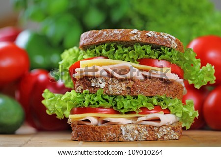 Double sandwich with chicken brest, swiss cheese, lettuce and tomato. - stock photo