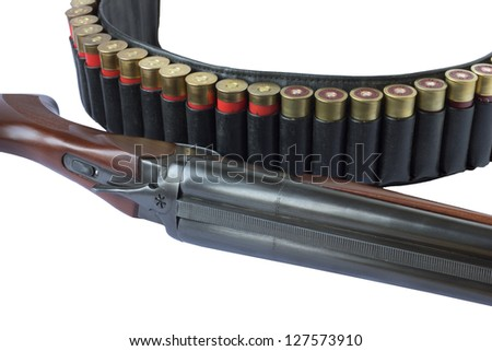 Double Shotgun and cartridge belt isolated - stock photo