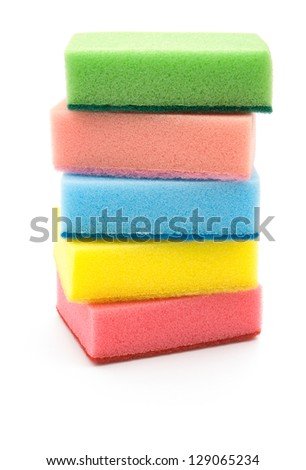 double side cleaning sponges stack up vertical - stock photo