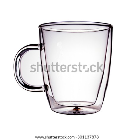 Double sided wall empty glass. Isolated on white background.