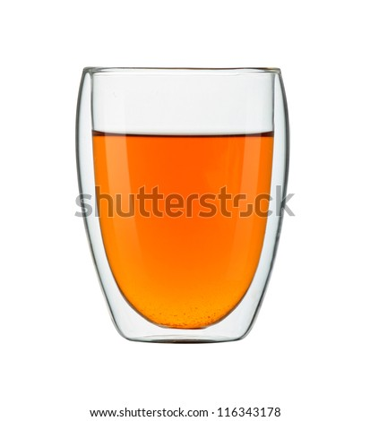 Double sided wall glass. Cup of tea isolated on white background. - stock photo