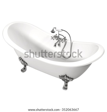 Double Slipper Clawfoot Bath Isolated on White Background