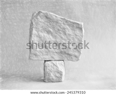 double stone  - illustration based on own photo image - stock photo
