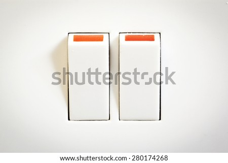 Double switch on a plug socket  - stock photo