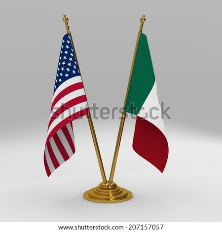 Double table flag, partnership united states of america and mexico
