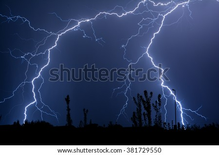 Double Trouble Cloud to Ground Lightning - stock photo