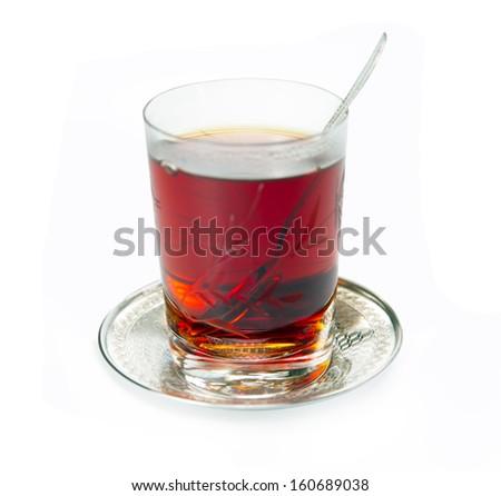 double Turkish tea - stock photo