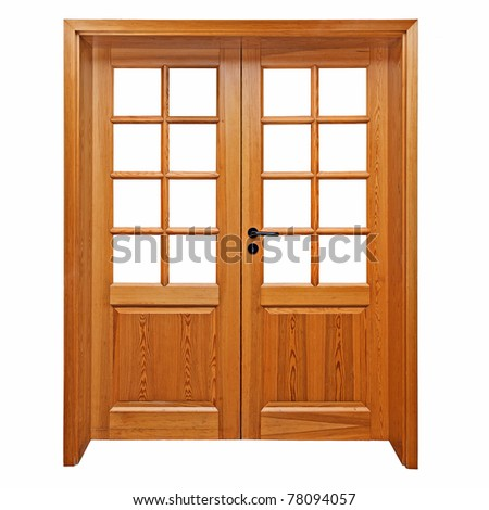 Double wooden doors isolated on white. - stock photo