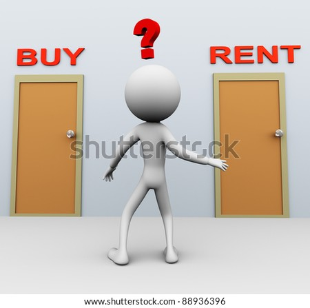 Doubtful 3d man about buy or rent decision - stock photo