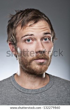 Doubtful Expression Man - stock photo