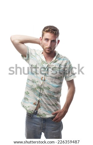 doubtful ginger young man with hawaiian shirt