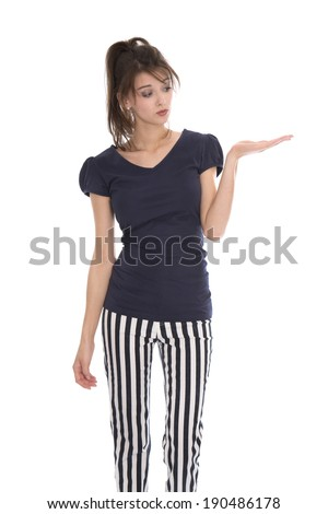 Doubtful isolated woman in navy style presenting with palm. - stock photo