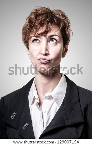 doubtful success short hair business woman on white background