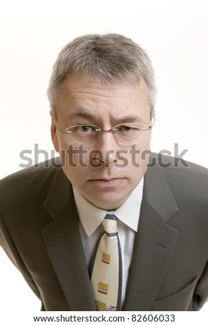 Doubting Thomas businessman portrait - stock photo