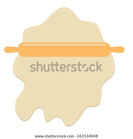 Dough and wooden rolling pin plunger bakery tool Flat design Template - stock photo