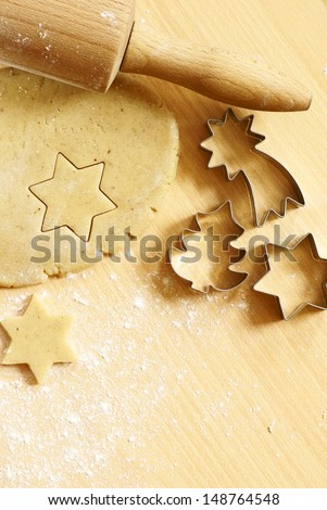 Dough for gingerbread cookies and baking accessories - stock photo
