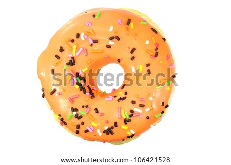doughnut has been bitten on a white background. - stock photo