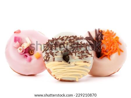 doughnut or donut isolated on white background cutout - stock photo