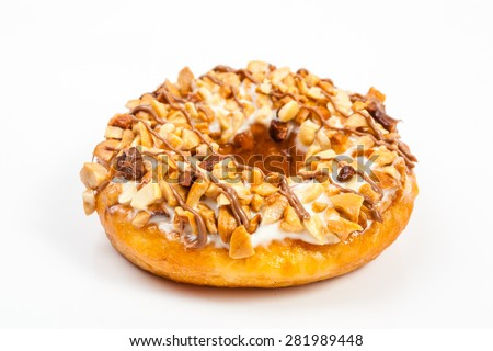 Doughnuts isolated on white background - stock photo