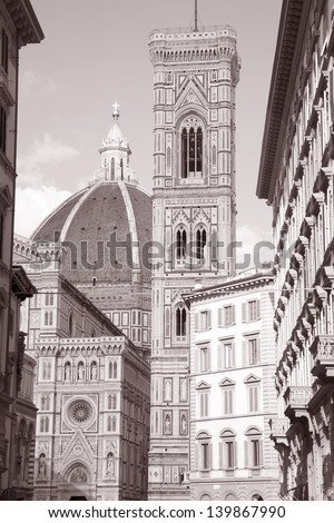 Doumo Cathedral Church Facade, Florence, Italy in Black and White Sepia Tone