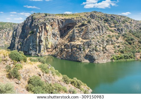 Douro river and the high rocky shores in Miranda do Douro, Portugal