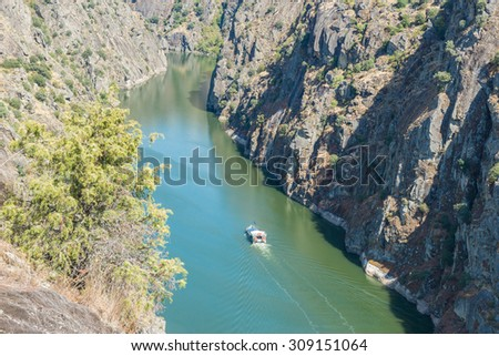 Douro river and the high rocky shores in Miranda do Douro, Portugal - stock photo