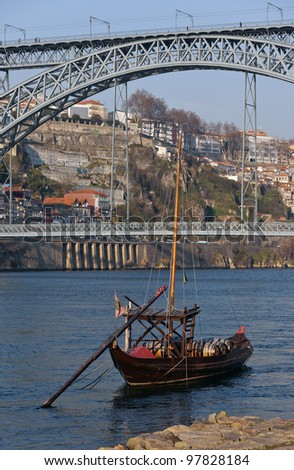 Douro river and traditional boats with wine barrels - Porto, Portugal