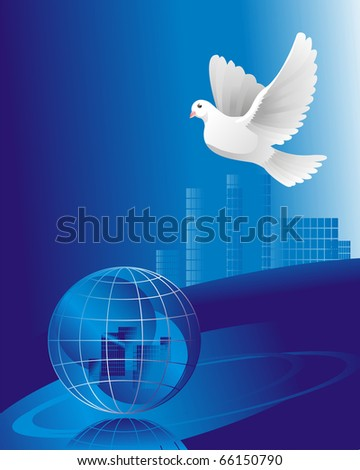 dove of peace over the crystal globe - stock photo