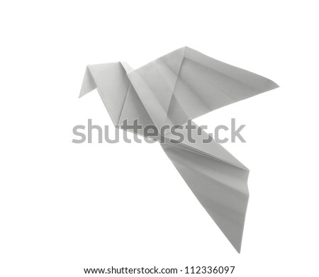 dove origami on white background