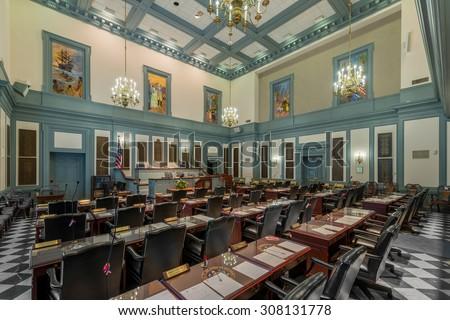 DOVER, DELAWARE - JULY 20: House of Representatives chamber in Legislative Hall on July 20, 2015 in Dover, Delaware  - stock photo