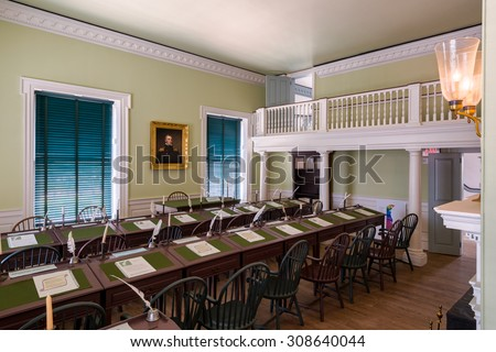 DOVER, DELAWARE - JULY 19: House of Representatives in the Old State House on The Green on July 19, 2015 in Dover, Delaware