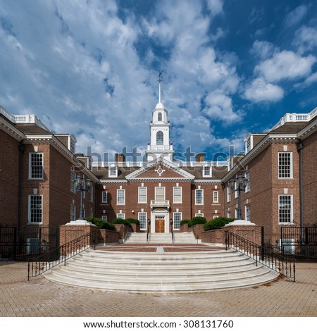 DOVER, DELAWARE - JULY 20: Legislative Hall on July 20, 2015 in Dover, Delaware  - stock photo