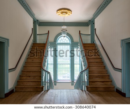 DOVER, DELAWARE - JULY 19: Staircase in the Old State House on The Green on July 19, 2015 in Dover, Delaware - stock photo