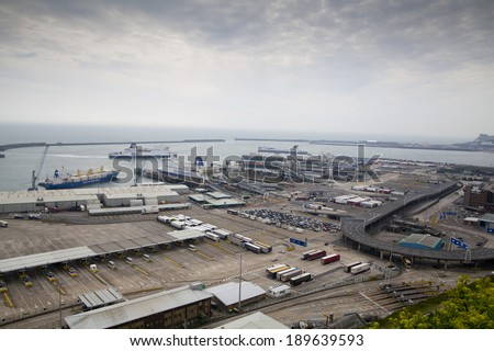 DOVER, UK - APRIL 12, 2014: - Dover port, busiest port of England got the plan to build the Third terminal