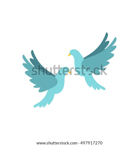 Doves icon in flat style isolated on white background. Bird symbol  illustration