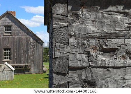 Dovetail joints used in an historic log cabin - stock photo