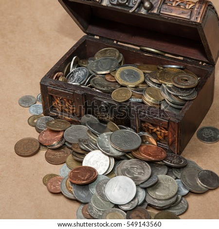 dower chest with old coins collection
