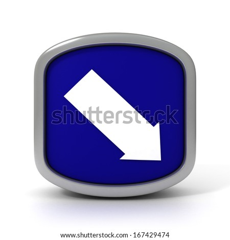 Down Arrow Blue sign isolated on a white background. Part of a series