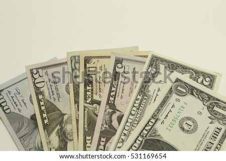 Down background with money american dollar bills