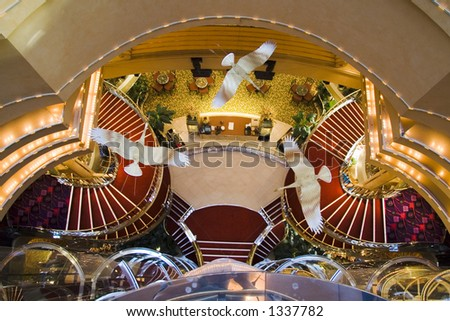 Down into the obby area of cruise ship showing decorations